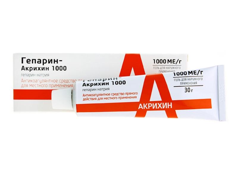 Гепарин Акрихин 1000 гель